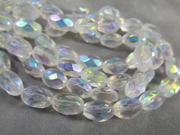 Crystal AB 6mm x 9mm Faceted Oval Glass Jewelry Beads (30)-Jewelry Beads-Default Title-Odyssey Cache