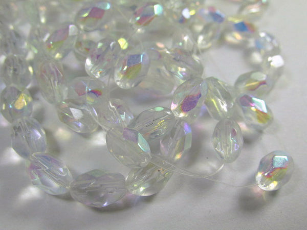 Crystal AB 6mm x 9mm Faceted Oval Glass Jewelry Beads (30) - Odyssey Cache