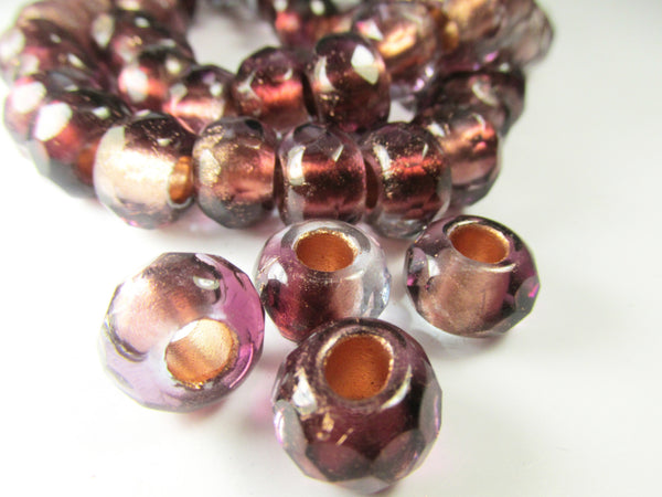 Burgundy Peach Wine Czech Large Hole 12mm Roller Beads (5)-Jewelry Beads-Odyssey Cache