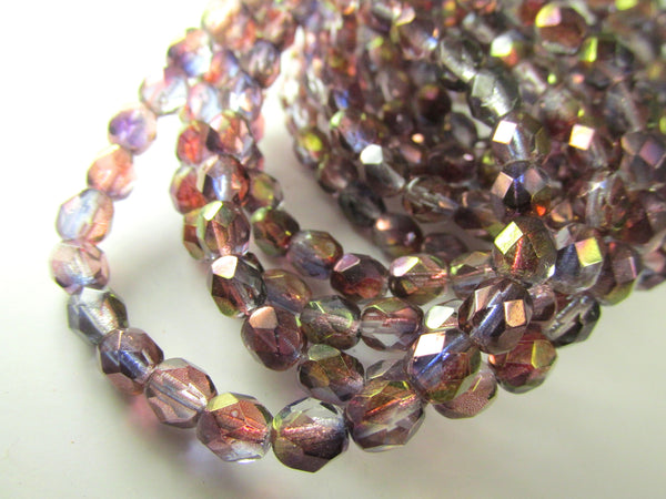 Purple Amethyst Luster 6mm Fire Polished Beads Czech Glass (25) - Odyssey Cache - 1