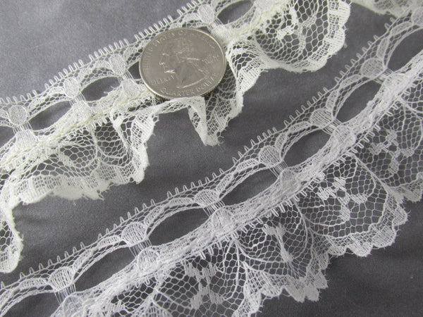 Ivory or Bridal White 1.5 inch Ribbon Insert Beading Scalloped Lace Trim-Trims-Ivory-Odyssey Cache