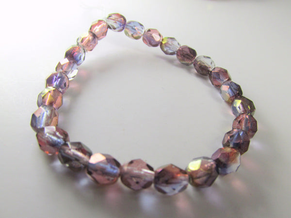 Purple Amethyst Luster 6mm Fire Polished Beads Czech Glass (25)-Jewelry Beads-Odyssey Cache