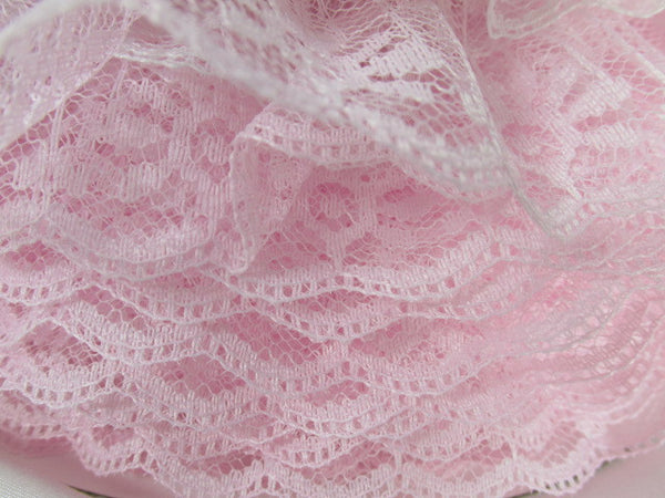 Double Layer Ruffled 2 Inch Lace Trim in White and Lavender, Pale Pink, or Baby Blue-Trims-Pale Pink White-Odyssey Cache