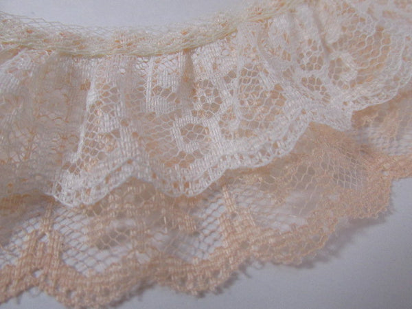 Double Layer Ruffled 2 Inch Lace Trim in Ivory and Mauve, Blue or Peach-Trims-Peach Ivory-Odyssey Cache