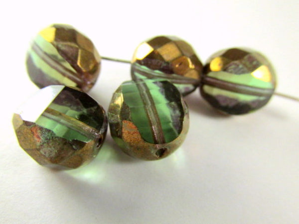 Olive Green and Copper Picasso Czech Faceted Sliced Rounds - Odyssey Cache - 1