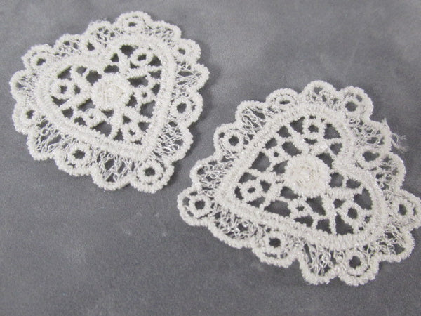 Venise Lace White or Ivory 45mm Heart Appliques (2)-Appliques-White-Odyssey Cache