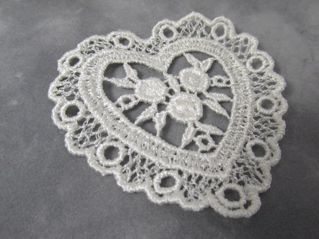 Pair of Ivory or White Large nearly 3 Inch Venise Lace Heart Appliques-Appliques-Ivory-Odyssey Cache