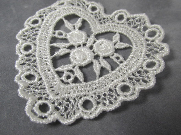 Pair of Ivory or White Large nearly 3 Inch Venise Lace Heart Appliques - Odyssey Cache