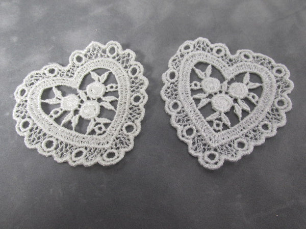 Pair of Ivory or White Large nearly 3 Inch Venise Lace Heart Appliques-Appliques-Odyssey Cache
