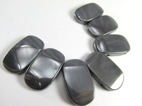 Hematite Semiprecious Stone Large Wedge Double Drilled 7 Piece Set-Jewelry Beads-Odyssey Cache