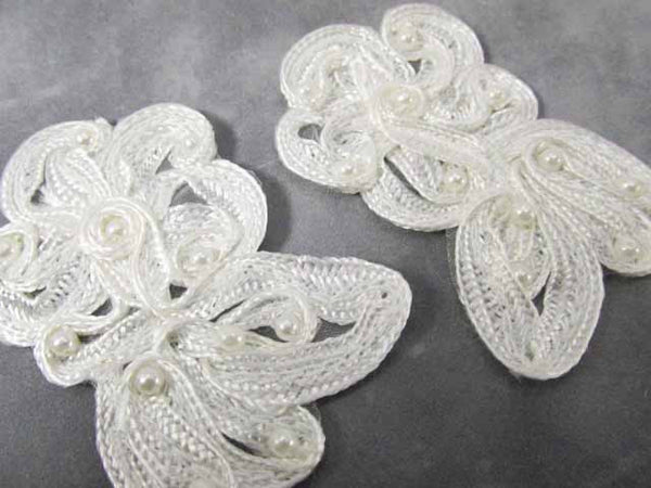 White Soutache Pearl Flower Bridal 3 x 2 inch Appliques (1 pair) - Odyssey Cache