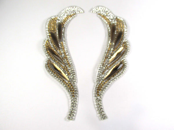 Gold and Silver Rhinestone Curvy Feather Shaped Iron On 6 Inch Appliques with long Light Topaz Acrylic Stones - 1 Pair - Odyssey Cache