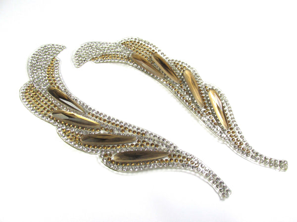 Gold and Silver Rhinestone Curvy Feather Shaped Iron On 6 Inch Appliques with long Light Topaz Acrylic Stones - 1 Pair-Appliques-Odyssey Cache