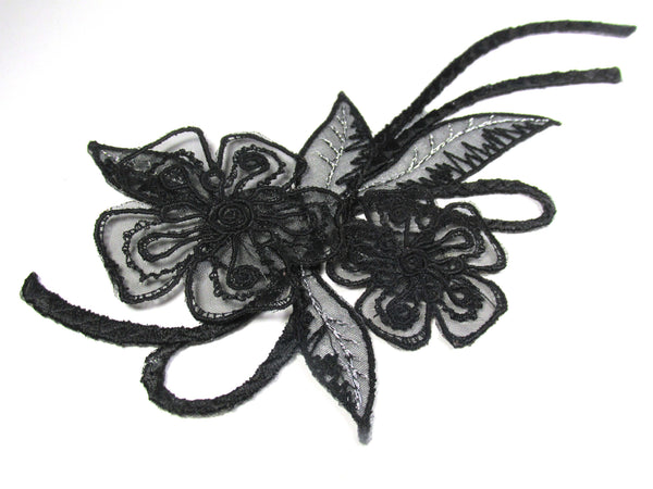 Black Curvy Iron On 8 Inch Long Applique with Flowers and Leaves with Silver Thread - Odyssey Cache