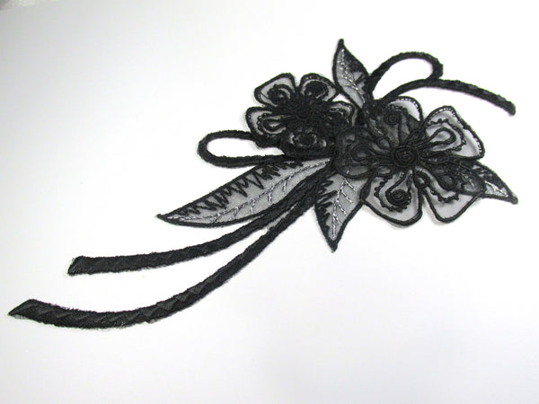 Black Curvy Iron On 8 Inch Long Applique with Flowers and Leaves with Silver Thread-Appliques-Odyssey Cache