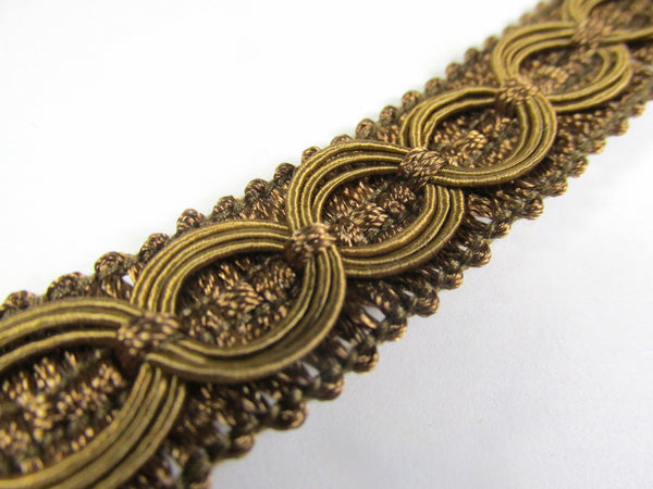 Cocoa Medium Brown Circle Patterned 3/4 Inch Wide Fancy Braided Home Decorator Gimp Trim-Trims-Odyssey Cache
