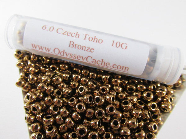Bronze Metallic Finish 6.0 Toho Seed Beads (10 grams)-Jewelry Beads-Odyssey Cache