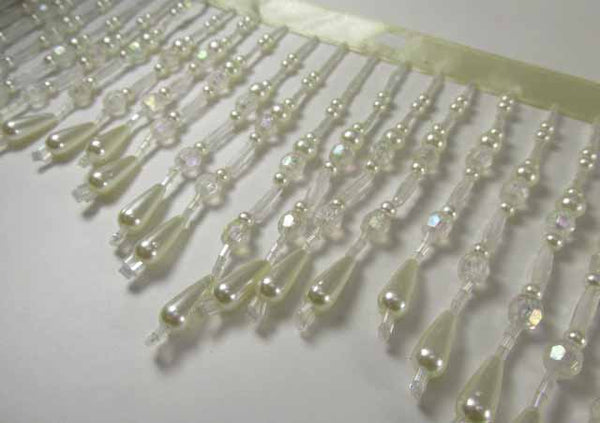 Ivory Pearl Crystal AB 4 Inch Long Beaded Fringe Decorator Trim - Odyssey Cache