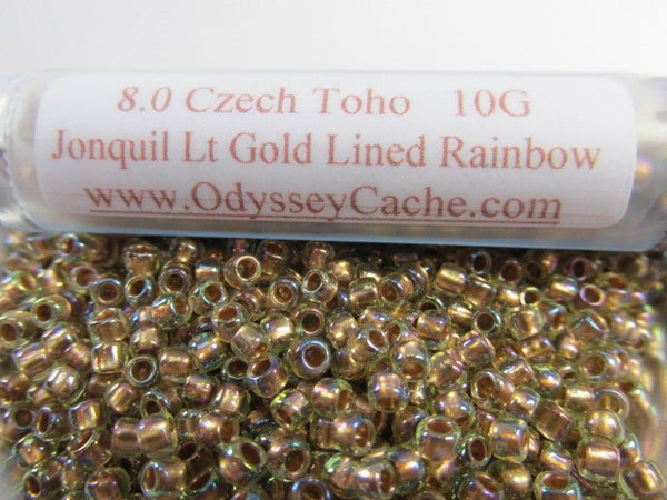 Jonquil Gold Lined Rainbow  8.0 Toho Seed Beads (10 grams) - Odyssey Cache