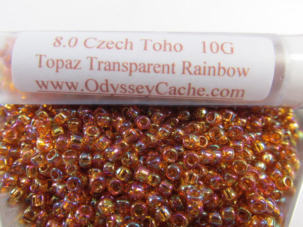 Topaz Transparent Rainbow 8.0 Glass Toho Seed Beads (10 grams)-Jewelry Beads-Odyssey Cache