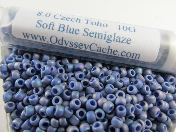 Soft Blue Semiglaze Size 8.0 Toho Glass Seed Beads (10 grams) - Odyssey Cache