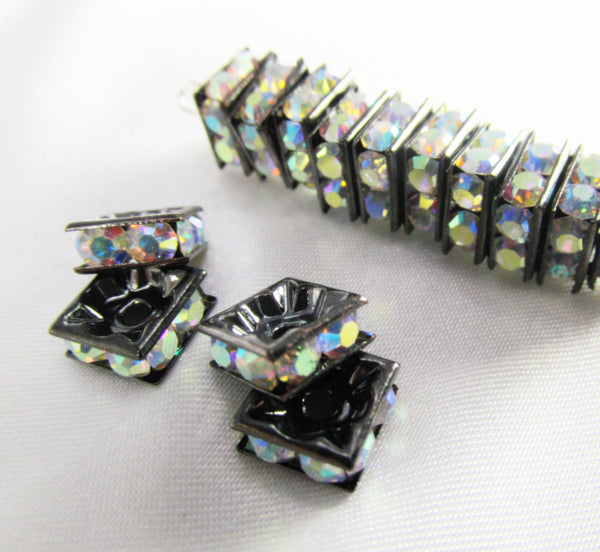 Gunmetal Square 8mm Crystal AB Crystal Squaredelle Spacers (8)-Jewelry Beads-Odyssey Cache