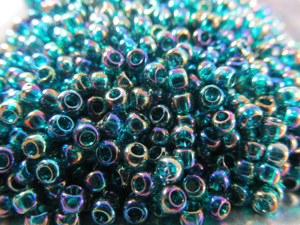 Teal Transparent Rainbow 8.0 Glass Toho Seed Beads (10 grams)-Jewelry Beads-Odyssey Cache