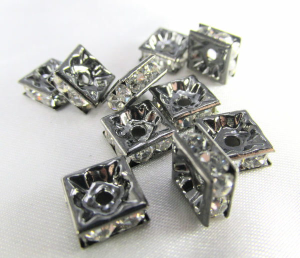 Gunmetal Square 8mm Clear Crystal Squaredelle Spacers (8) - Odyssey Cache