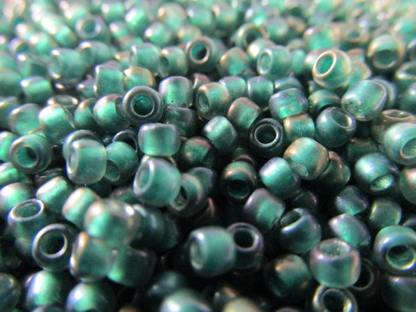 Teal Lined Crystal Metallic 8.0 Glass Toho Seed Beads (10 grams)-Jewelry Beads-Odyssey Cache