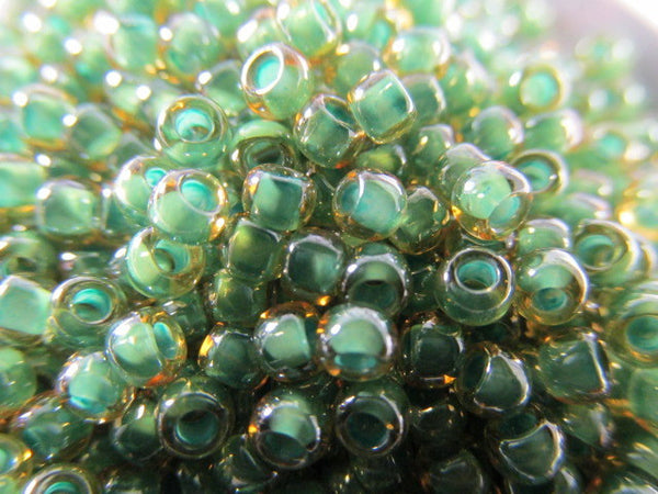 Topaz Mint Julep Lined Czech Glass 8.0 Toho Seed Beads (10 grams) - Odyssey Cache