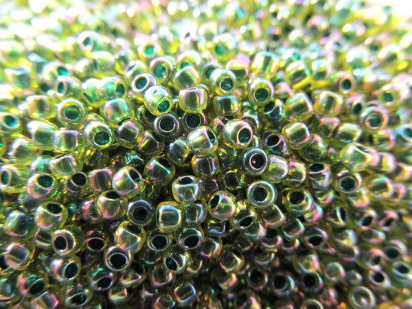 Jonquil Forest Green Lined Czech Glass 11.0 size seed jewelry beads (10 grams) - Odyssey Cache