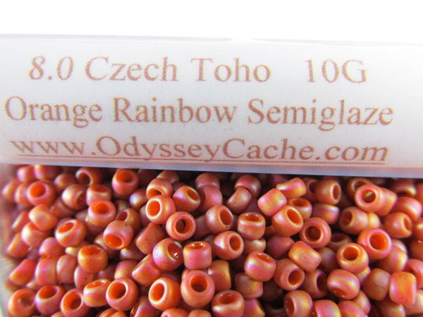Orange Rainbow Semiglaze 8.0 Glass Toho Seed Beads (10 grams)-Jewelry Beads-Odyssey Cache