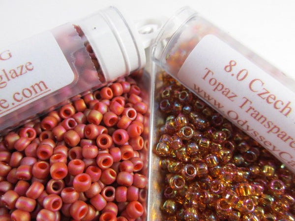 Orange Rainbow Semiglaze 8.0 Czech Glass Toho Seed Beads (10 grams) - Odyssey Cache