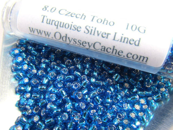 Turquoise Silver Lined 8.0 Glass Toho Seed Beads (10 grams)-Jewelry Beads-Odyssey Cache