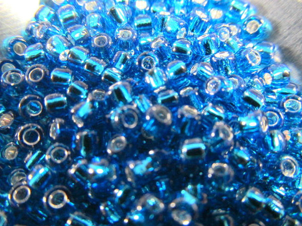 Turquoise Silver Lined 8.0 Czech Glass Toho Seed Beads (10 grams)-Jewelry Beads-Odyssey Cache