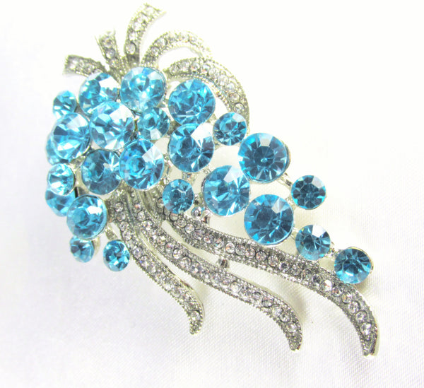 Turquoise Cascading Crystal Brooch-Brooch-Odyssey Cache