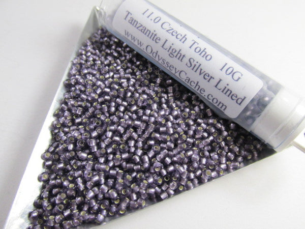 Tanzanite Light Silver Lined 11.0 Glass Toho Seed Beads (10 grams)-Jewelry Beads-Odyssey Cache