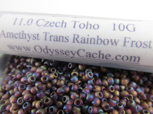 Amethyst Transparent Rainbow Frost 11.0 Czech Glass Toho Seed Beads (10 grams)-Jewelry Beads-Odyssey Cache