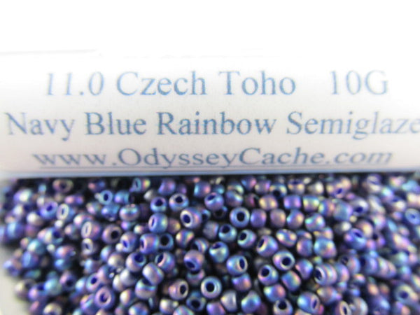 Navy Blue Rainbow Semiglaze Size 11.0 Toho Glass Seed Beads (10 grams)-Jewelry Beads-Odyssey Cache
