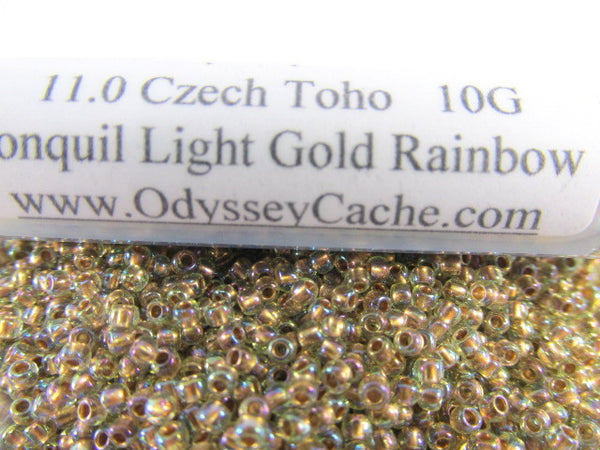 Jonquil Gold Lined Rainbow 11.0 Toho Seed Beads (10 grams)-Jewelry Beads-Odyssey Cache