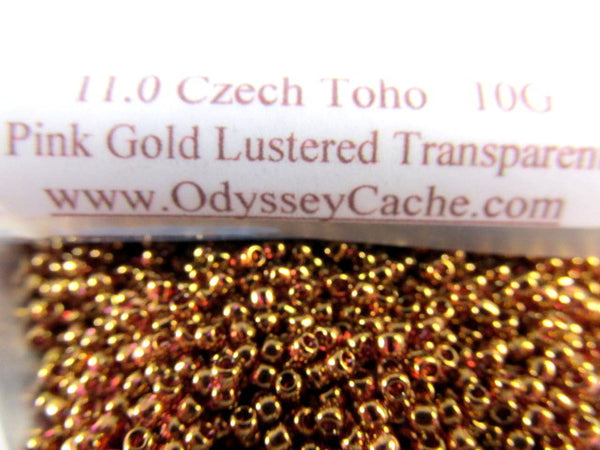 Pink Gold Luster Transparent 11.0 Glass Toho Seed Beads (10 grams) - Odyssey Cache