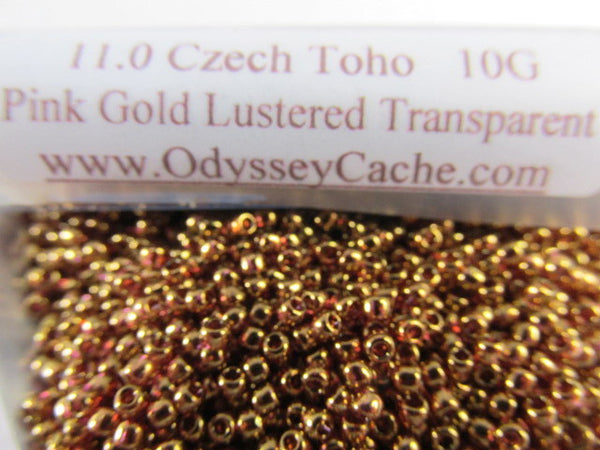 Pink Gold Luster Transparent 11.0 Glass Toho Seed Beads (10 grams)-Jewelry Beads-Odyssey Cache