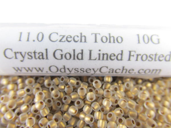 Crystal Gold Lined Frosted 11/0 Toho Seed Beads (10 grams) - Odyssey Cache