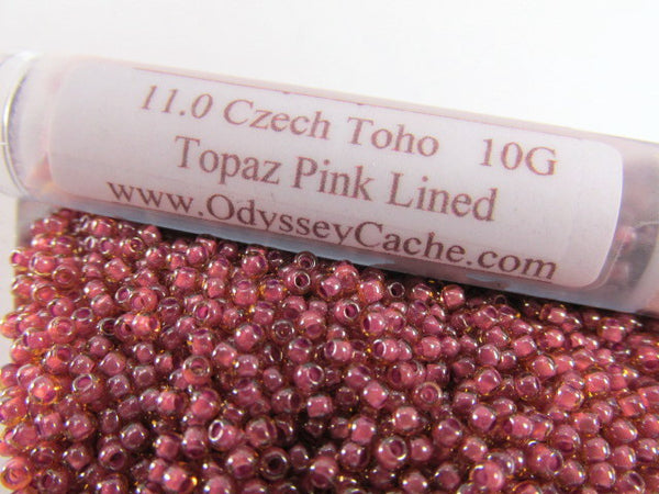 Topaz Pink Lined 11/0 or 8/0 Czech Glass Toho Seed Beads (10 grams) - Odyssey Cache