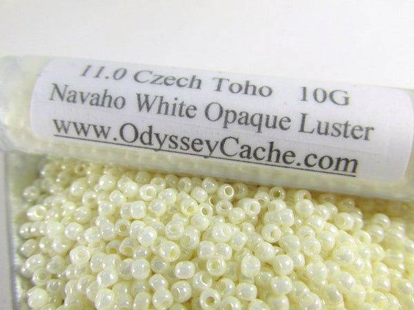 Navaho White Opaque Luster 11.0 or 8.0 Toho Seed Beads (10 grams) - Odyssey Cache