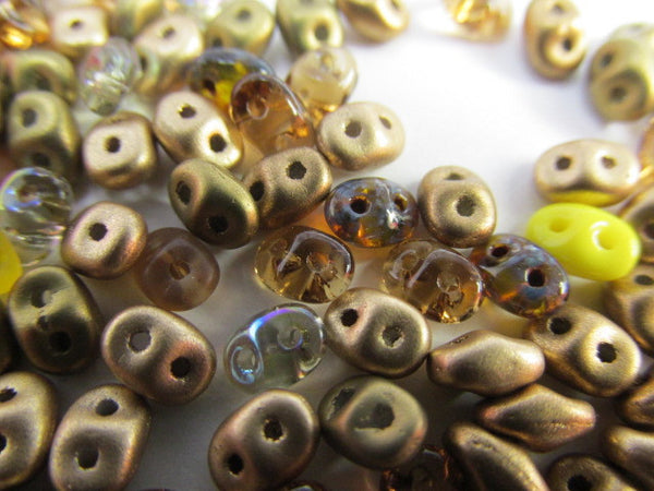 Amber Gold Mix Czech Glass 2.5 x 5mm Superduos (10 grams)-Jewelry Beads-Odyssey Cache