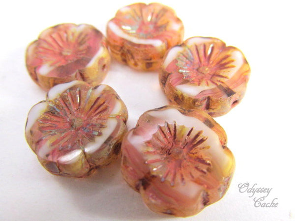 Pink Rose Picasso Striped 14mm Hawaiian Czech Flower Beads-Jewelry Beads-Odyssey Cache
