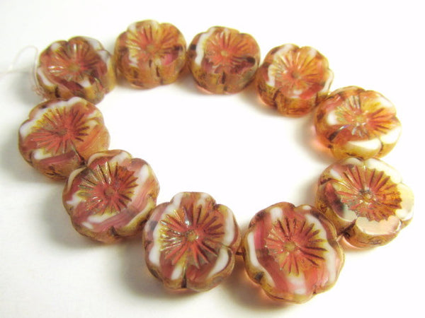 Pink Rose Picasso Striped 14mm Hawaiian Czech Flower Beads-Jewelry Beads-10 beads-Odyssey Cache