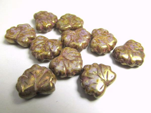 Dusty Mauve Rose Gold Luster Czech Glass 13mm x 10mm Maple Leaves-Czech Glass-10 beads-Odyssey Cache