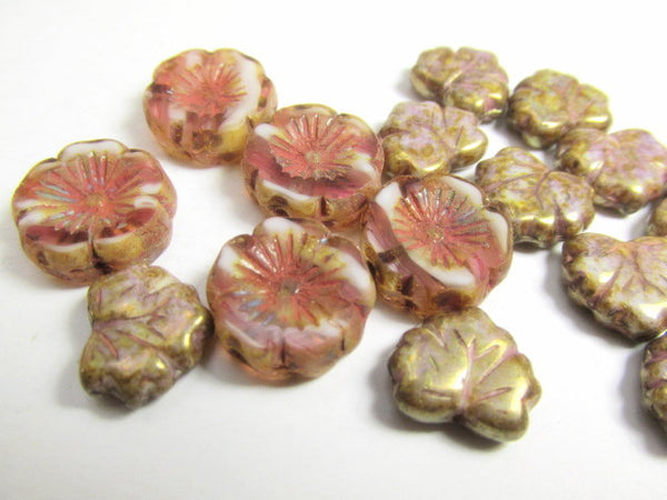 Dusty Mauve Rose Gold Luster Czech Glass 13mm x 10mm Maple Leaves - Odyssey Cache